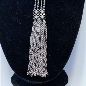 Jewelry - Long Silver Tone and Crystal Necklace